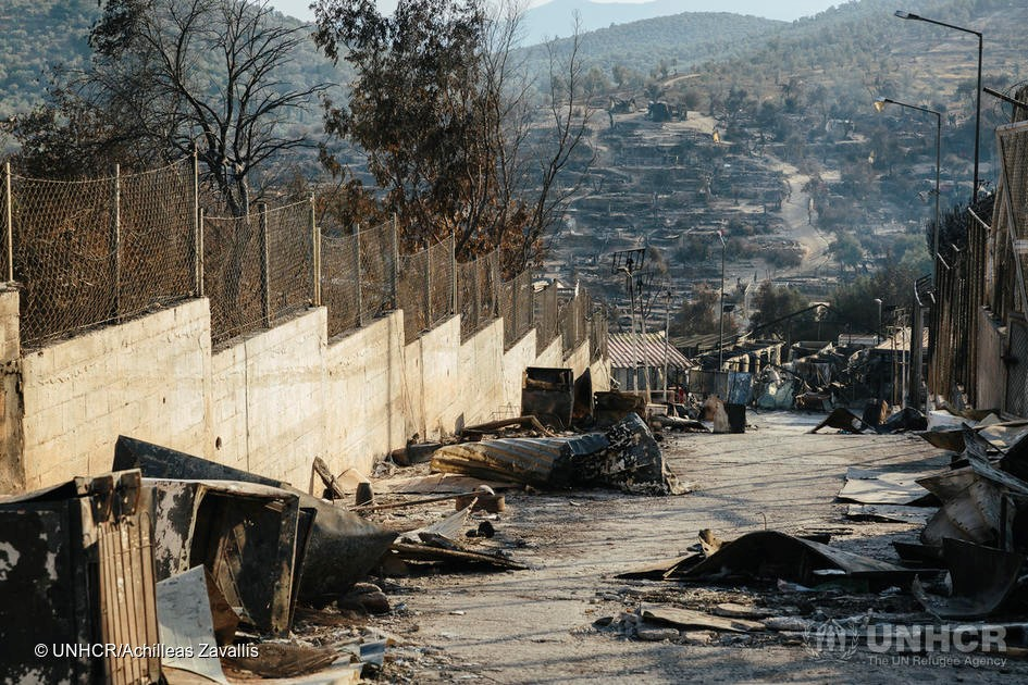 The aftermath of the fire that destroyed the Moria reception centre on Lesvos.