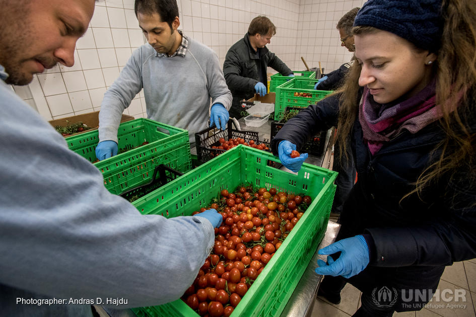 Austria. Refugees in Austria help to feed those poorer than themselves