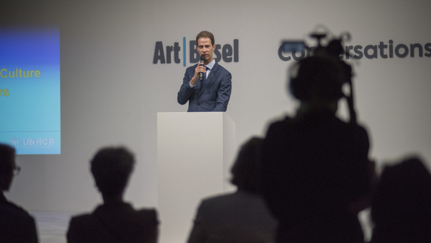 Switzerland. Art stands with refugees event at Art Basel
