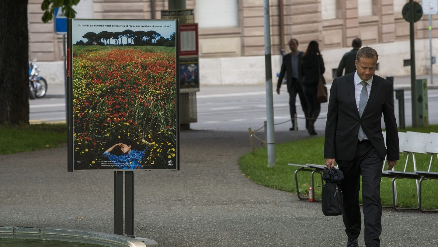"""Switzerland. Art Stands with Refugee Women in Basel, with the art and poster project """"Where should birds fly after the last sky?"""""""