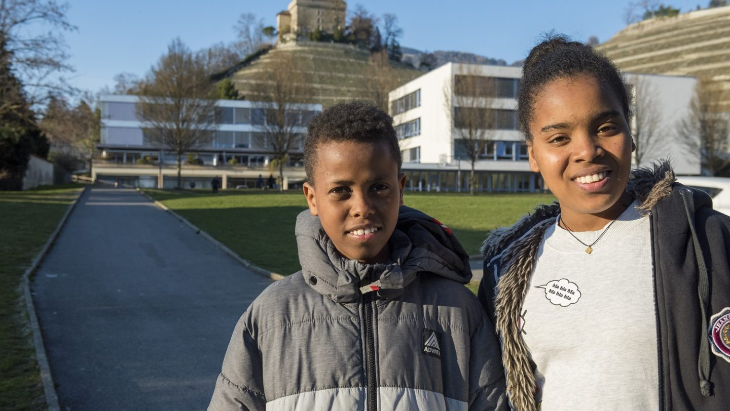 Switzerland. Family finally reunited and safe together, after two children were lost in the desert