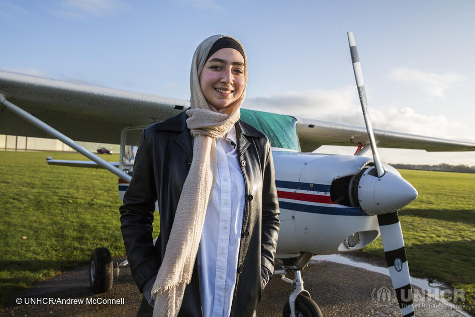 United Kingdom. Young Syrian refugee learns to fly