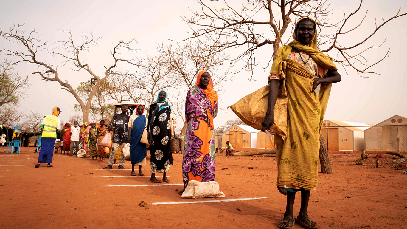 South Sudan. COVID-19 precautions during food and soap distribution