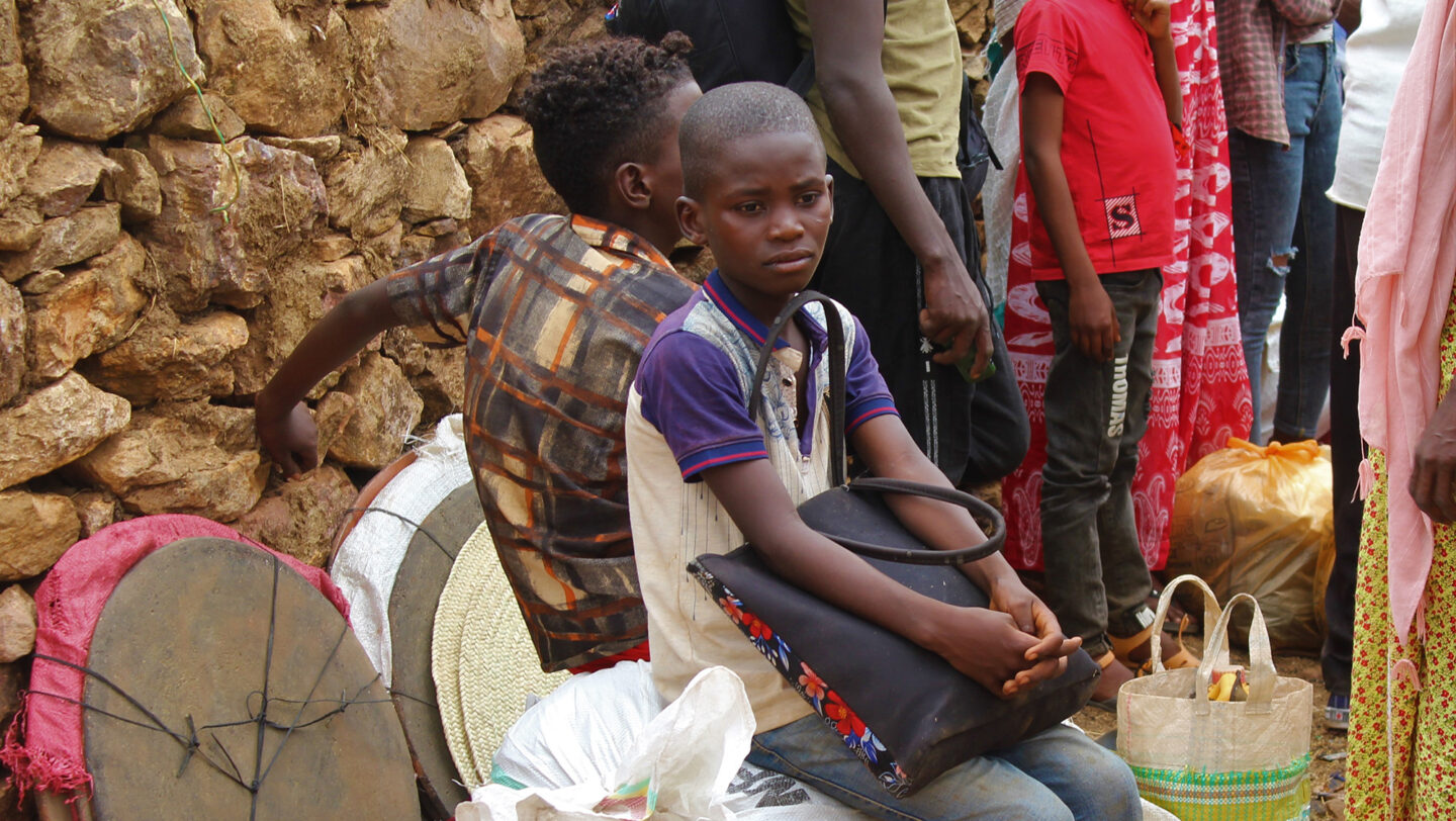Ethiopia. Eritrean refugees relocated to safety and assistance