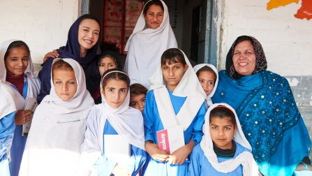 Girls in Kot Chandana refugee school together with National Goodwill Ambassador of UNHCR Chinese Actress Yao Chen. ;