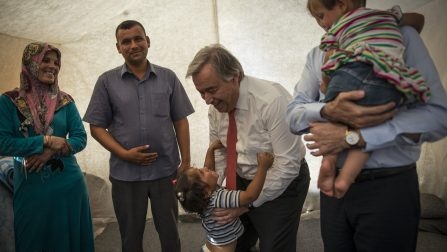 United Nations High Commissioner António Guterres visits a Syrian refugee family in Midyat camp in Mardin, Turkey. Refugees, Mohammad, his wife Samia and their two daughters Noor, 3 and his daughter Mariam-who was born at the camp, talk with the High Commissioner. Mohammad and his family came from Idlib province in Syria. Pictured with Mariam is Dr. Fuat Oktay, head minister of Emergency and Disasters. ; World Refugee Day in Mardin, Turkey on June 20th, 2015. The UN High Commissioner for Refugees, António Guterres and Special Envoy Angelina Jolie visited the Mardin Camp. The camp, located in Mardin Province in Southeast Turkey hosts 5,300 refugees from Syria. There are 2,380 Iraqi's and 2,920 Syrians living there. The camp is situated 90km from the border and 60km from Mardin.