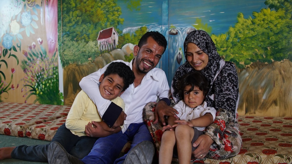 Actor and director Ahmed with his wife Nisreen and their sons, Hamza and Khaled. © UNHCR/Houssam .