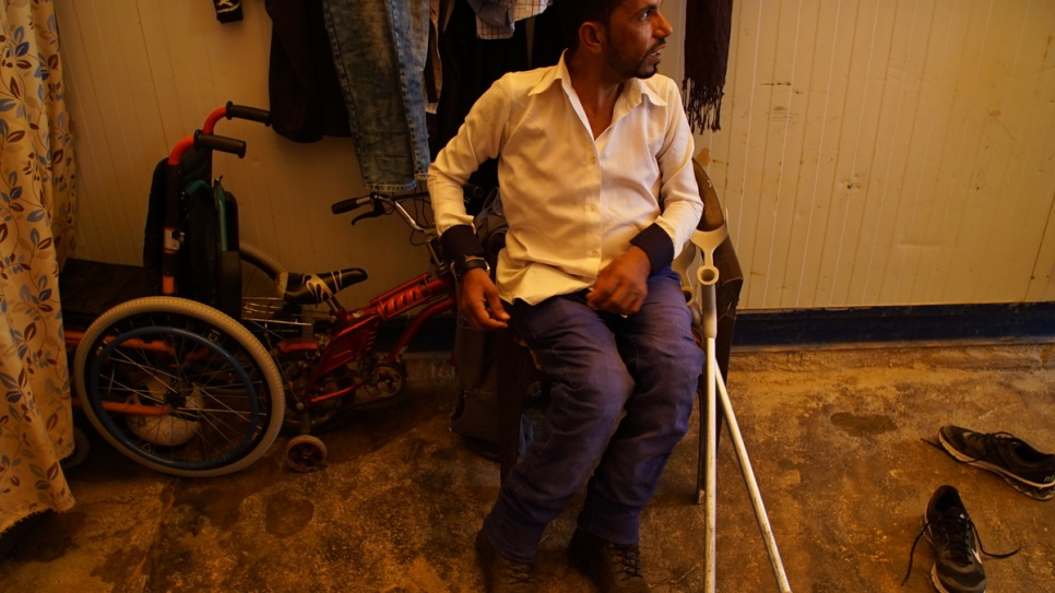 Ahmed starting acting back in Syria at the age of 15. A hereditary muscular disorder requires him to use crutches and a specially adapted scooter that he built himself. © UNHCR/Houssam Hariri.