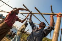 Rohingya refugees build new homes on new site in Bangladesh