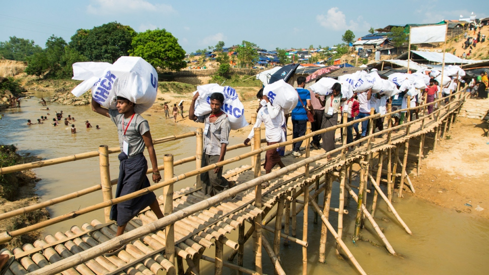 The UN Refugee Agency relocated some 1,700 new refugees to a government-allocated site in south-eastern Bangladesh, giving them a home after weeks on the move. © UNHCR/Roger Arnold