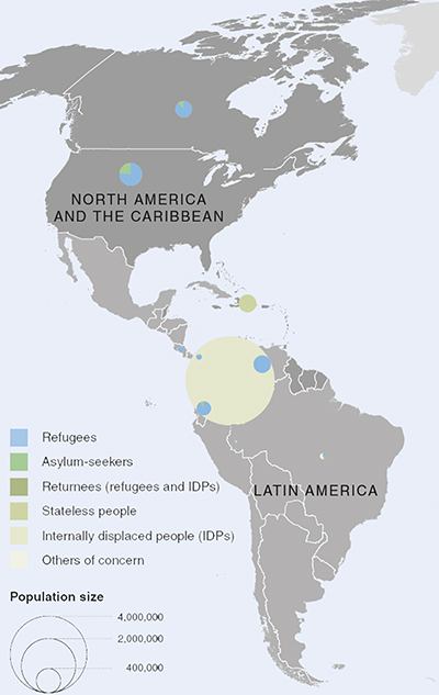 UNHCR 2015 Americas regional operations map