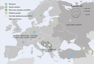 UNHCR 2015 Europe regional operations map