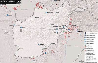 UNHCR 2015 Afghanistan country operations map