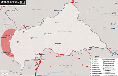 UNHCR 2015 Central African Republic country operations map