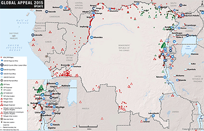 UNHCR 2015 DRC country operations map