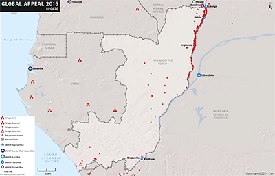 UNHCR 2015 Congo country operations map