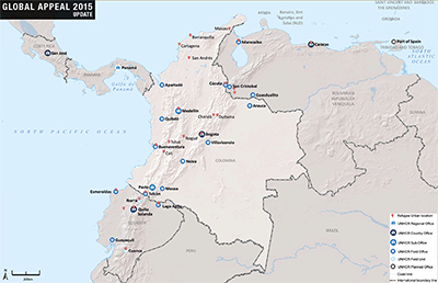 UNHCR 2015 Colombia country operations map
