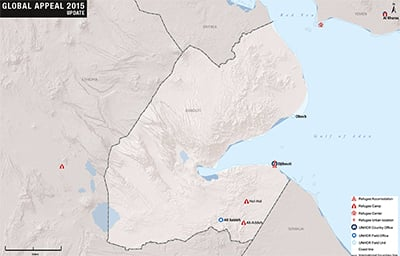 UNHCR 2015 Djibouti country operations map