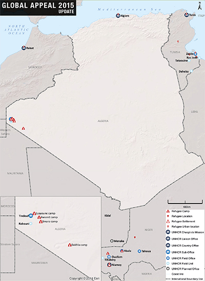 UNHCR 2015 Algeria country operations map
