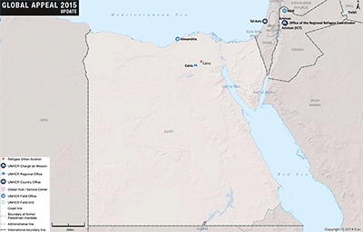 UNHCR 2015 Egypt country operations map