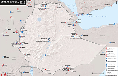 UNHCR 2015 Ethiopia country operations map