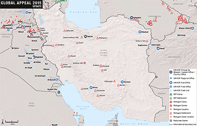 UNHCR 2015 Iran country operations map