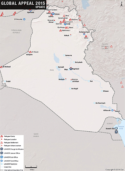 UNHCR 2015 Iraq country operations map