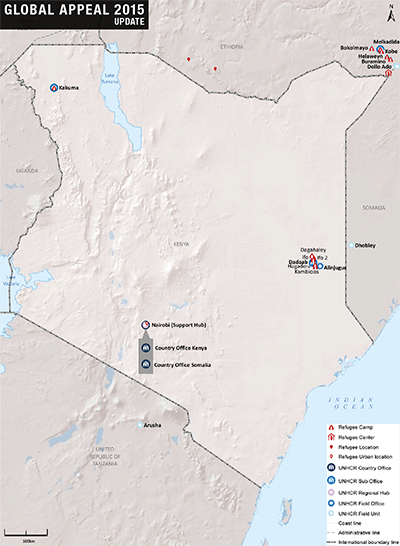 UNHCR 2015 Kenya country operations map