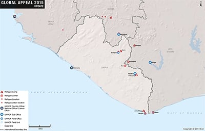 UNHCR 2015 Liberia country operations map
