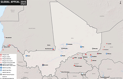 UNHCR 2015 Mali country operations map