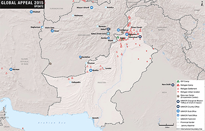 UNHCR 2015 Pakistan country operations map
