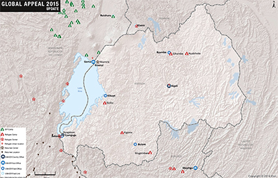 UNHCR 2015 Rwanda country operations map
