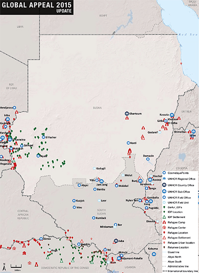 UNHCR 2015 Sudan country operations map