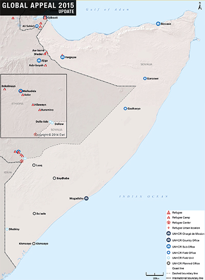 UNHCR 2015 Somalia country operations map