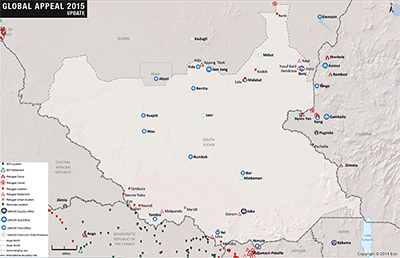 UNHCR 2015 South Sudan country operations map