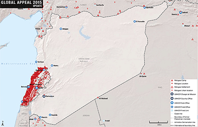 UNHCR 2015 Syria country operations map
