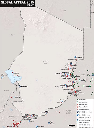 UNHCR 2015 Chad country operations map