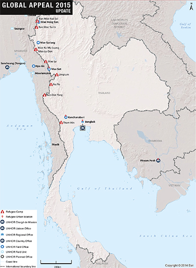 UNHCR 2015 Thailand country operations map