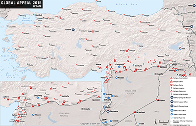 UNHCR 2015 Turkey country operations map