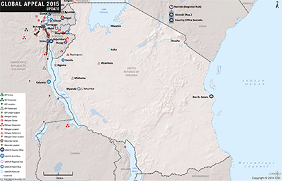 UNHCR 2015 Tanzania country operations map