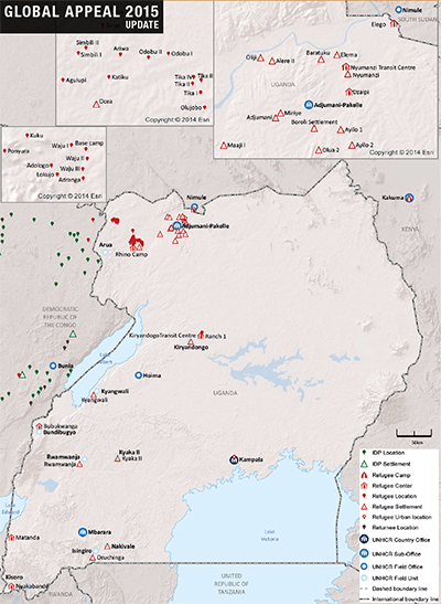 UNHCR 2015 Uganda country operations map