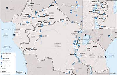 UNHCR 2015 Central Africa and the Great Lakes subregional operations map