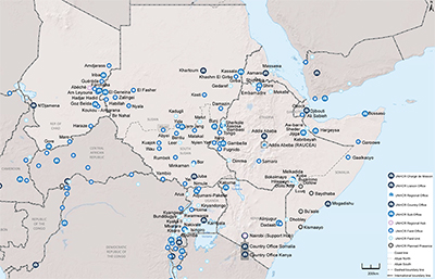 UNHCR 2015 East and Horn of Africa subregional operations map
