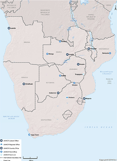 UNHCR 2015 Southern Africa subregional operations map