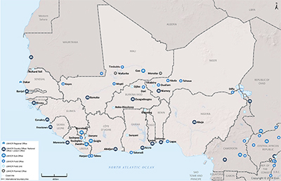 UNHCR 2015 West Africa subregional operations map