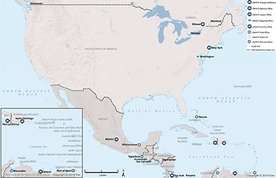 UNHCR 2015 North America and the Caribbean subregional operations map