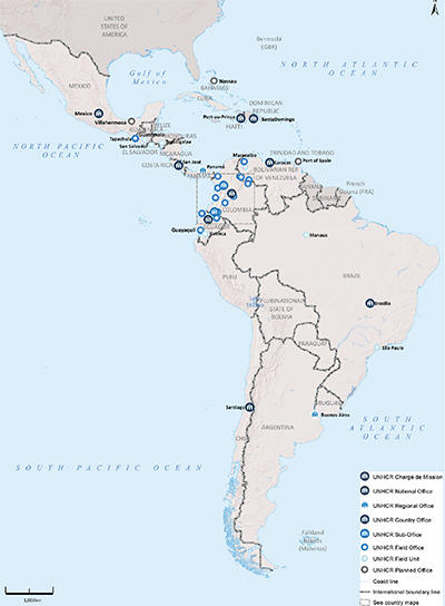 UNHCR 2015 Latin America subregional operations map