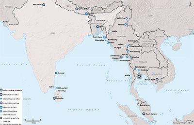 UNHCR 2015 South Asia subregional operations map