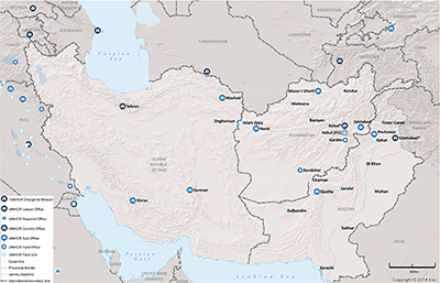 UNHCR 2015 South-West Asia subregional operations map