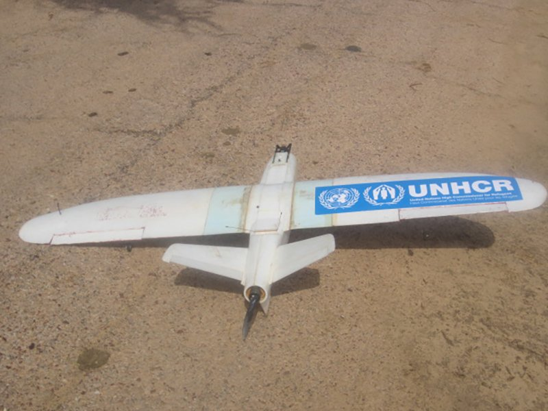 Aziz Kountche's latest prototype: the T-800. The drone will help support UNHCR's planning and ongoing humanitarian response in Diffa, Niger.